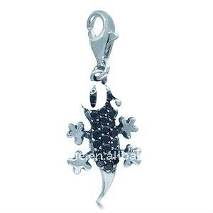 popular alloy high polish 1.3gram black cubic zirconia gecko Accesories Charms.alloy necklace penden