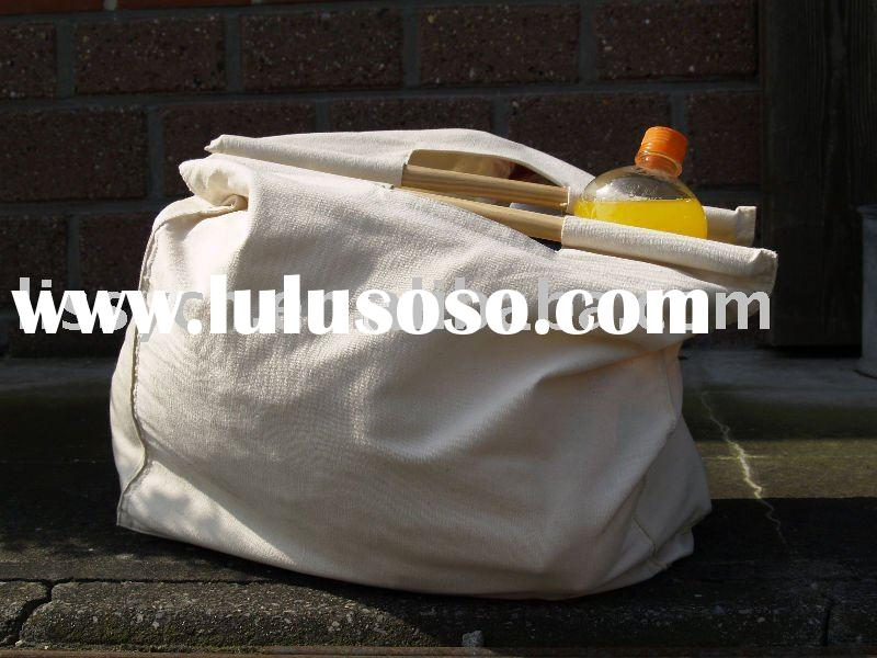 promotional canvas cotton tote bag with wooden handles