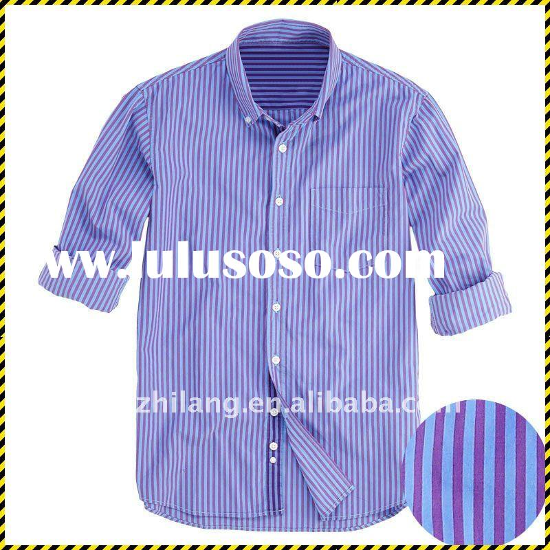 purple stripe long sleeve men shirt