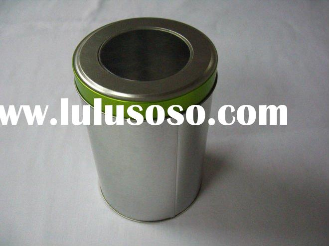 round cosmetic tin can with clear PVC window