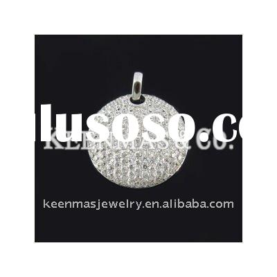 round plain pendant,fashion 925 silver with cz stone jewelry , high quality and competitive price