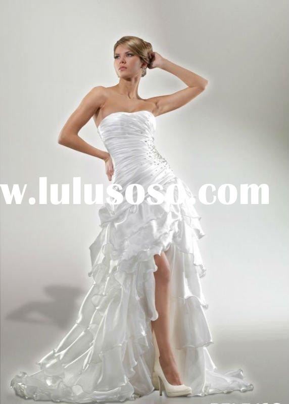 ruffle front short and long back wedding dress