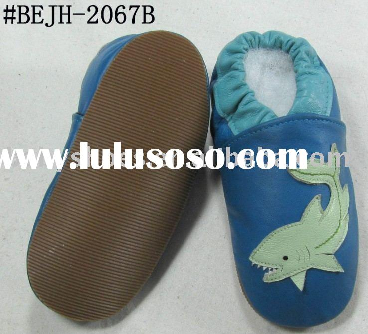 shark pattern rubber sole baby leather shoes