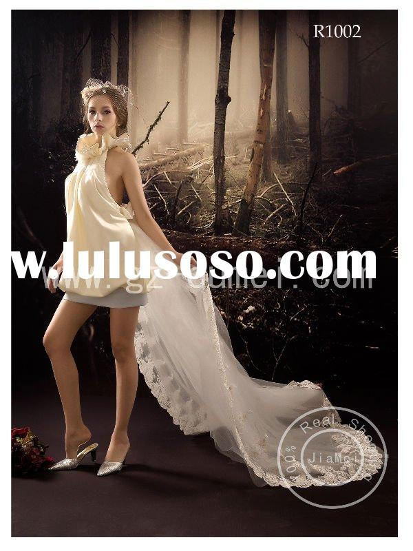 short modern wedding dresses mini lace ribbons mesh bridal gown