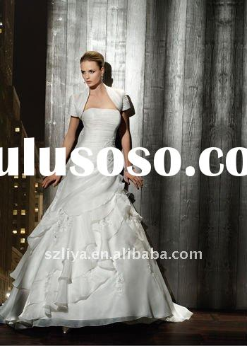 simple strapless A-line lace beaded ruffled Lace-up back Matching Bolero Jacket wedding dress SHS250