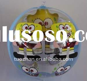 sponge bob printing promotion-use PVC/TPU promotional inflatable beach ball for fun advertising(fact
