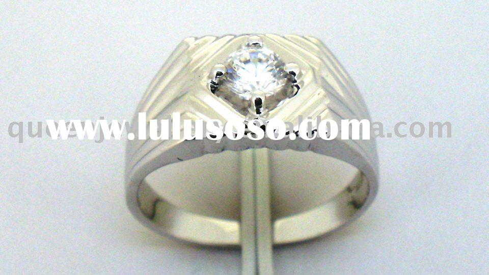 sterling 925 silver men rings with cz QCR422