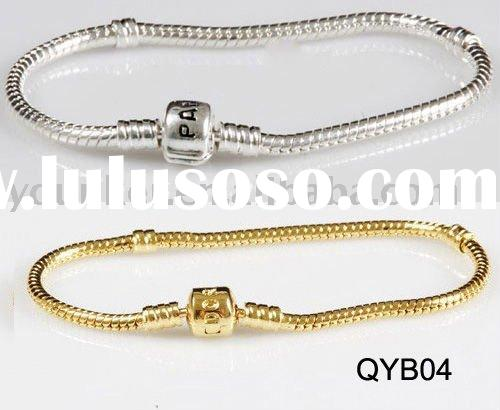sterling silver European snake chain bracelet with word