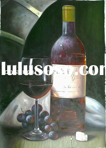 still life oil painting-wine bottles