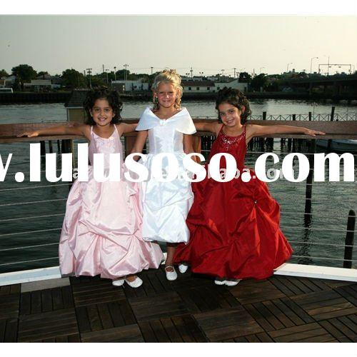 taffeta long flower girl dress/kid dress 2011/girl dresses