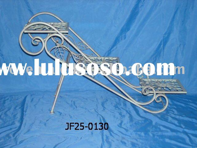 the iron stair or flower shelf or metal craft or flower stand in the garden decoration