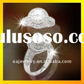 top quality big stone 925 sterling silver jewelry design engagement ring for lady