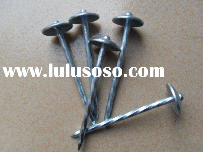 umbrella head with spiral shank roofing nail