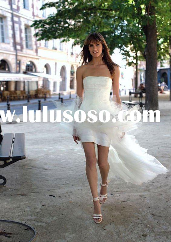 white strapless short wedding dress with train HS244