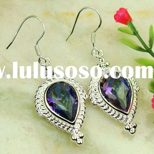 wholesale costume Jewelry mystic topaz 925 sterling silver Earrings