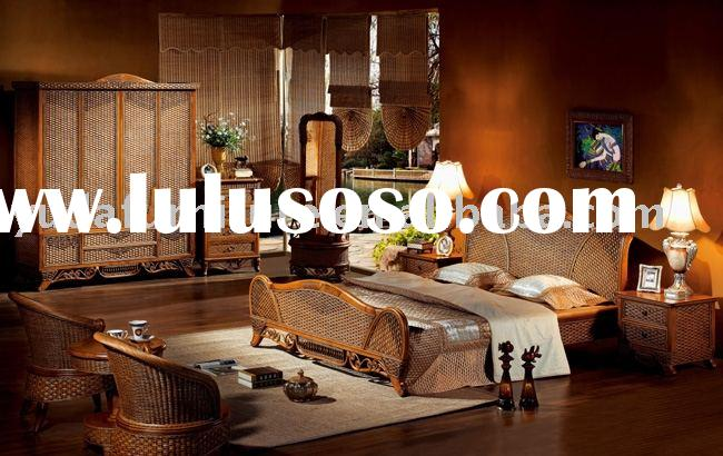 wooden furniture Natural Indonesia rattan bedroom furniture sets