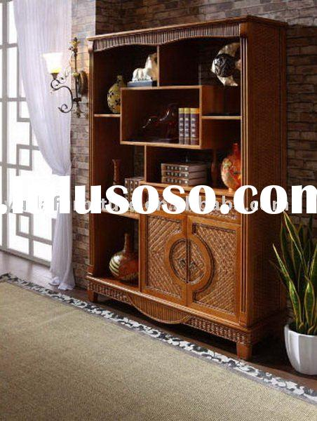 wooden furniture Natural Indonesia rattan wine Cabinet Water hyacinth seagrass cane wicker