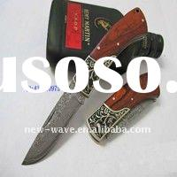 wooden handle with brass damascus folding knife
