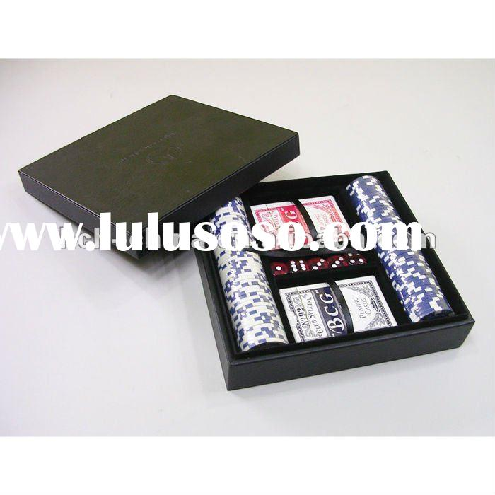 100 pc Poker Chip Set In Black Leather Case