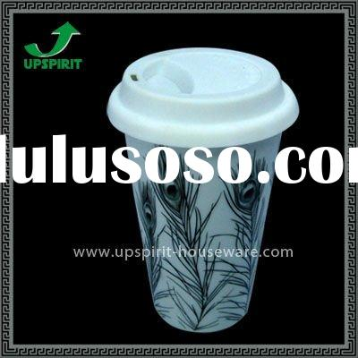 13oz Double wall ceramic travel mug with plastic lid