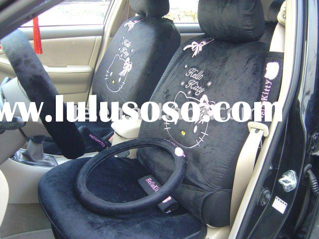 18PCS univisal soft velvet cartoon black hello kitty winter car seat covers car accessories