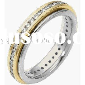 18 K gold filled and Two-Tone Gold SPINNING Eternity Band stainless steel band ring