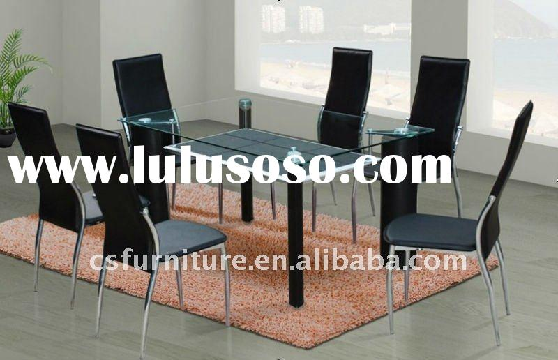 1+6 temper glass dining table and chairs