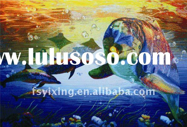 "1""x1"" dolphin iridescent tile glass mosaic mural for glass mosaic tiles for swimming pool"