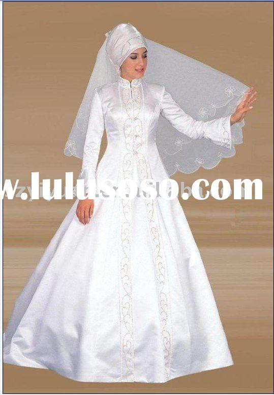 2011New Style Exquisite with embroidery long sleeves muslim bridal ball gown bridal Wedding Dress