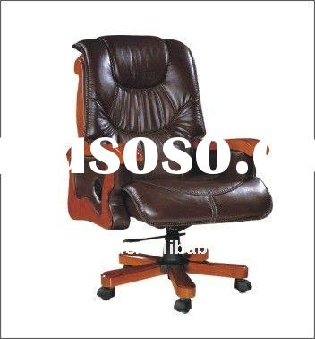 2011Wood Frame High Back office Chair with Genuine Leather