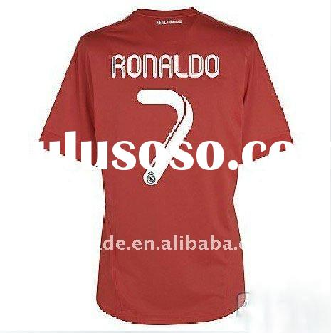 2011/2012 Real Madrid #7 Ronaldo away red soccer football jersey/uniform