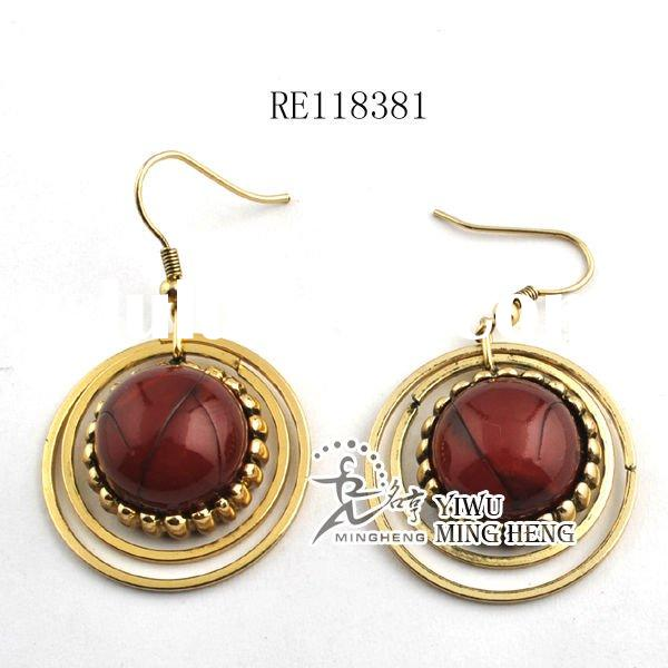 2011 Fashion Antique Gold Alloy Hoop Earrings with resin stone