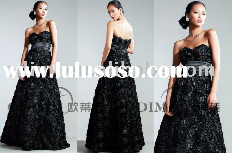 2011 Fashion Designer Black Flower Long Evening Dress