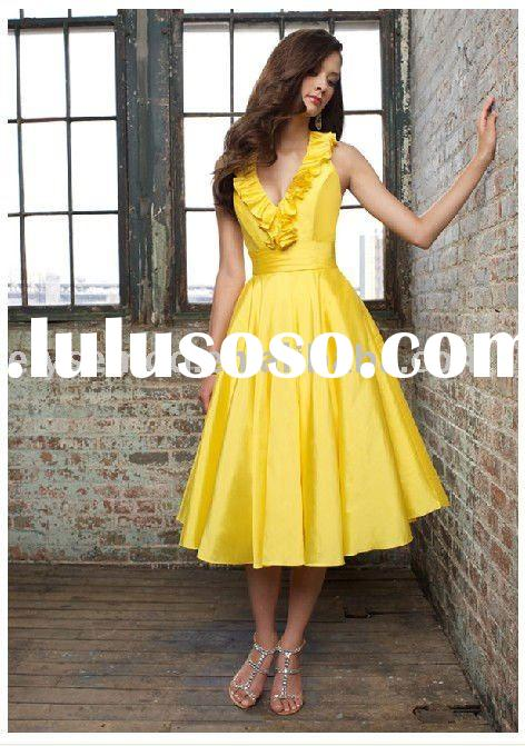 2011 Hot Sell New Arrival Halter Knee Length Yellow Cheap Bridemaids Dresses