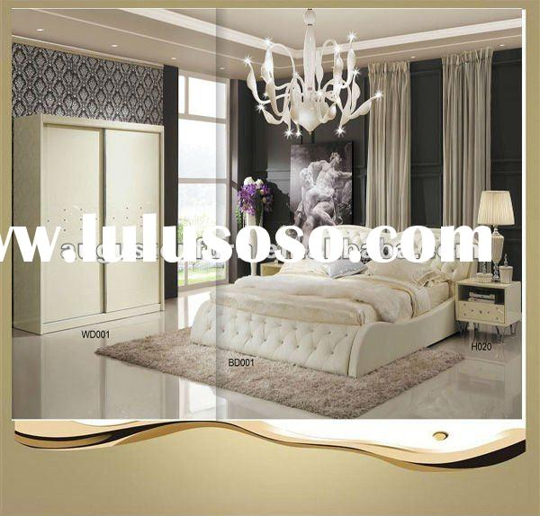 2011 antique cream high glossy wooden bedroom furniture sets