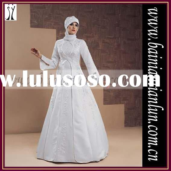 2011 collection muslim wedding dress short delivery time