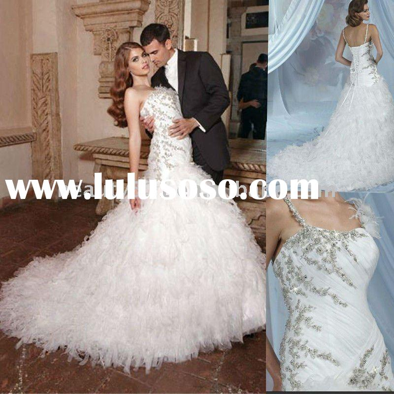 2011 elegant design white bridal gown royal style wedding dress