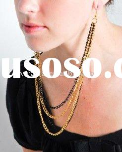 2011 high fashion jewelry muti-chain two tone earlce connecting earrings necklace factory direct