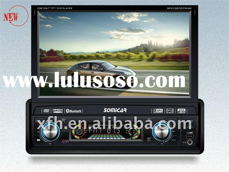 "2011 hot sale 1 DIN 7"" touch screen car dvd with motorized screen,TV,GPS"