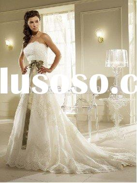 2011 hot sale lace vintage wedding gowns with ribbon JAW-043