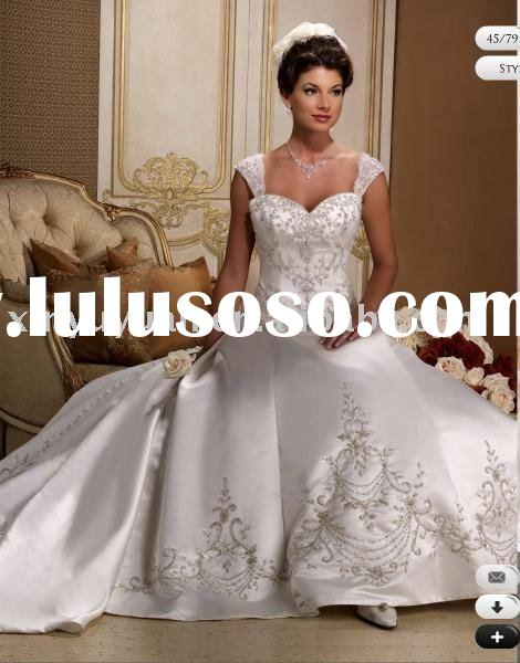 2011 modern style cap-sleeve beaded wedding dress, bridal gown/bridal wedding gown with excellent be