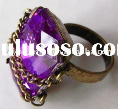 2011 new antique gold fashion violet gemstone ring