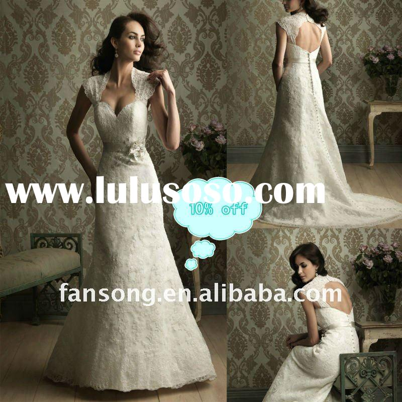 2011modesty cap-sleeve sheath sequined lace open back bridal gown