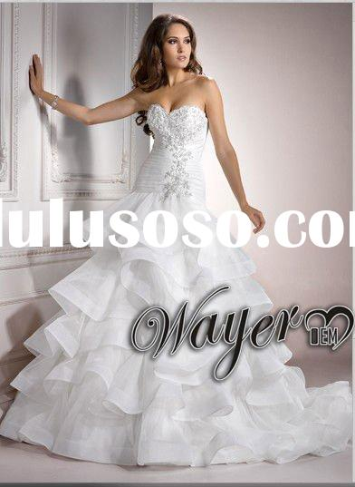 2012 Fascinating Sweetheart Floor Length Chapel Train Lace Appliqued Organza Ball Gown Wedding Dress