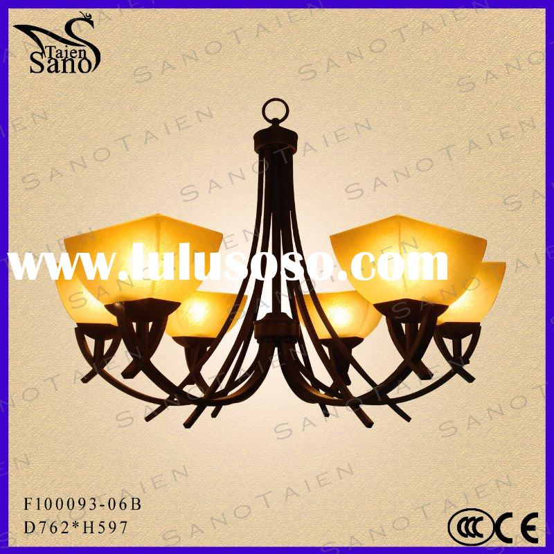 2012 Modern Glass Hotel Chandelier Light Simple European Design Antique Copper Chandelier