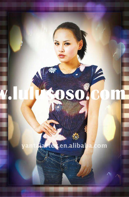 2012 Newest Round Neck Women Fashion Polyester Sublimation Transfer Print T-shirt