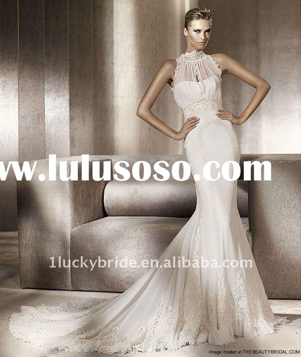 2012 Stunning Chiffon Lace Trumpet Gown Wedding dress Evening dress bride gown bridal Dress Prom dre