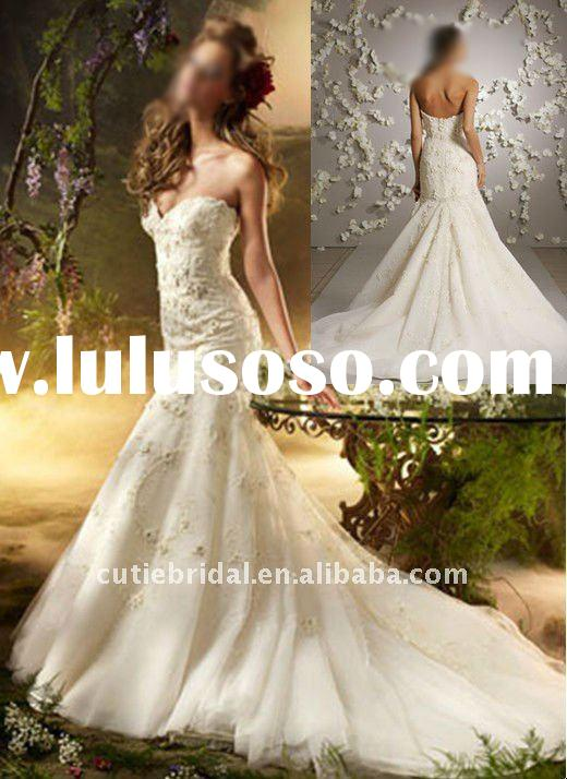 2012 Wholesale Sweetheart Beaded Organza Mermaid Wedding Dress, Wedding Gown 10664