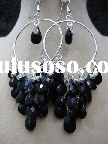 2012 fashion black imitation acrylic costume earring jewelry