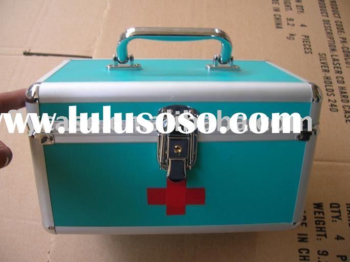 2012 first aid kit,medical case ,aluminum medical case with logo and plate inside